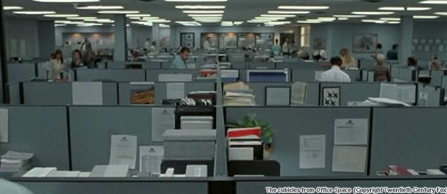 The cubicles from Office Space (Copyright Twentieth Century Fox)