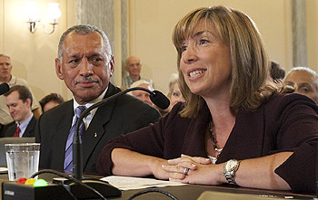 NASA Administrator Charles Bolden and Deputy Administrator Lori Garver at their Senate confirmation hearing in July 2009