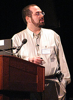 Eliezer Yudkowsky at the 2009 Singularity Summit in New York City