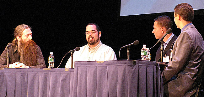 From left: Aubrey de Grey, Eliezer Yudkowsky, Peter Thiel, and Michael Vassar.