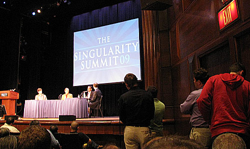 A panel discussion during the 2009 Singularity Summit in New York City.