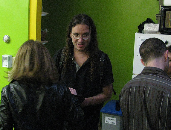 Ben Goertzel, partying after the end of the first day of the conference.