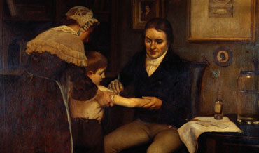 Edward Jenner and his first vaccination